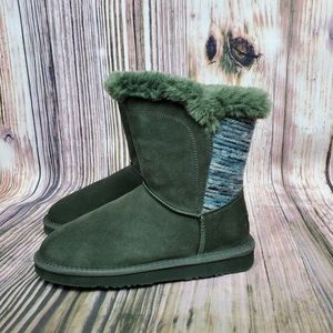 Lamo Forest Green Water Resistant Suede Boots